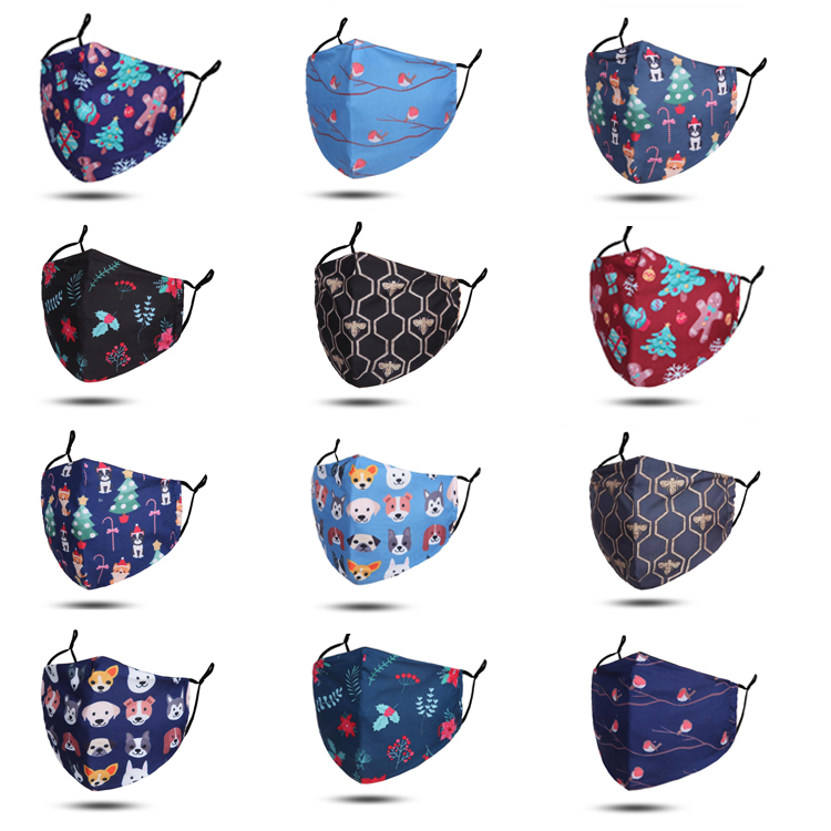 Christmas Reusable Face Mask With Filter Pocket ( mix pack of 12 pieces)