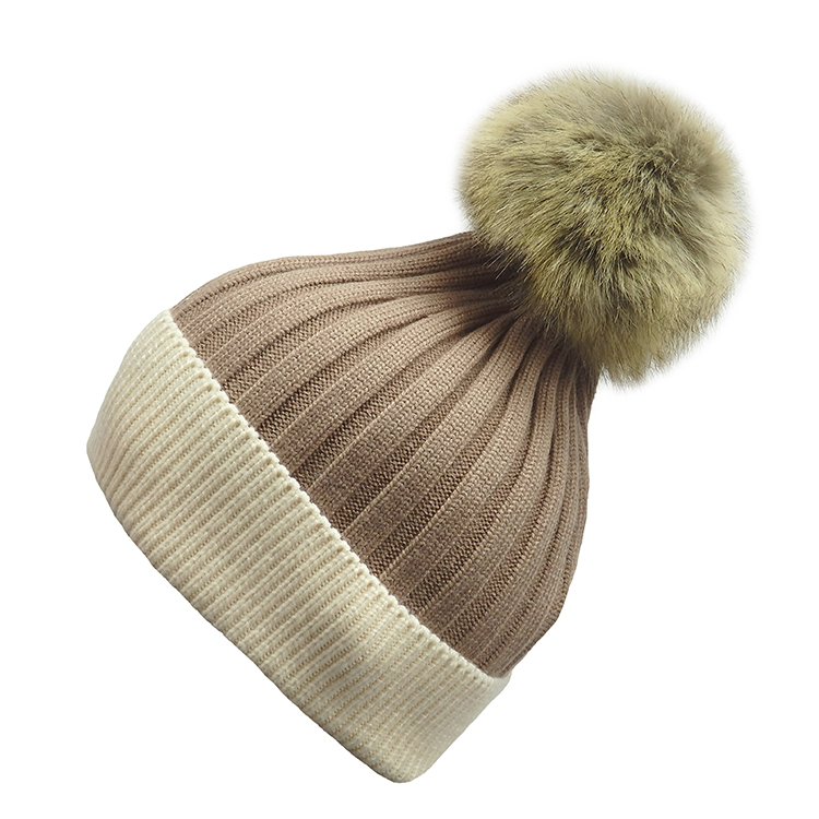 Faux Fur Pompom Two Tone Hat (MORE COLOURS AVAILABLE)