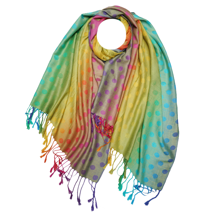 Rainbow Dots Print Reversible Pashmina (MORE COLOURS AVAILABLE)