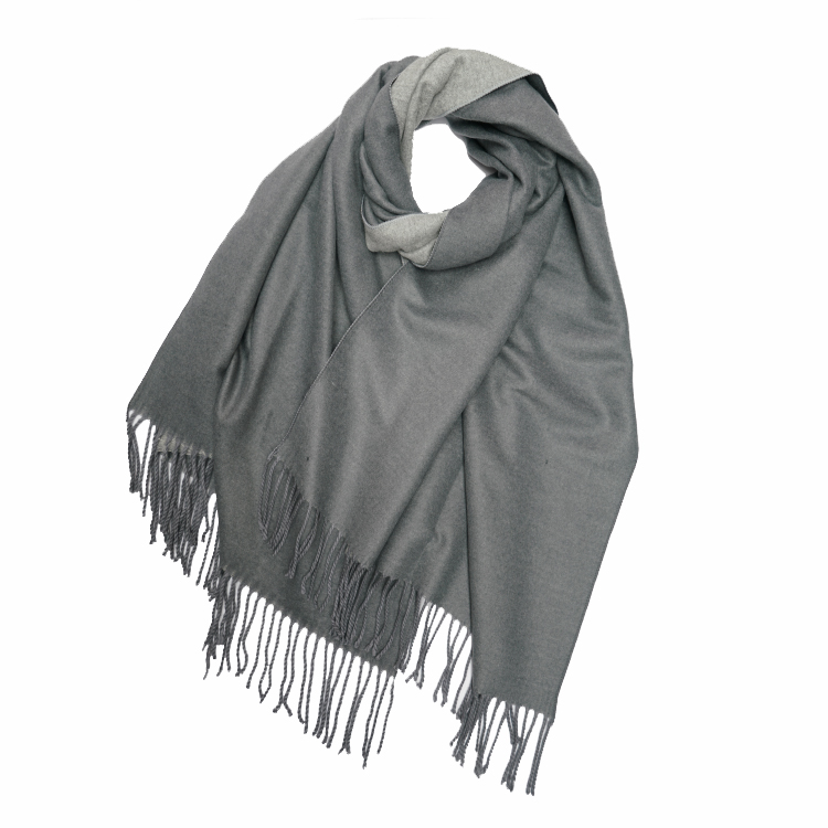 Cashmere Mix Plain 2 Tone Reversible Winter Scarf With Tassels (MORE COLOURS AVAILABLE)