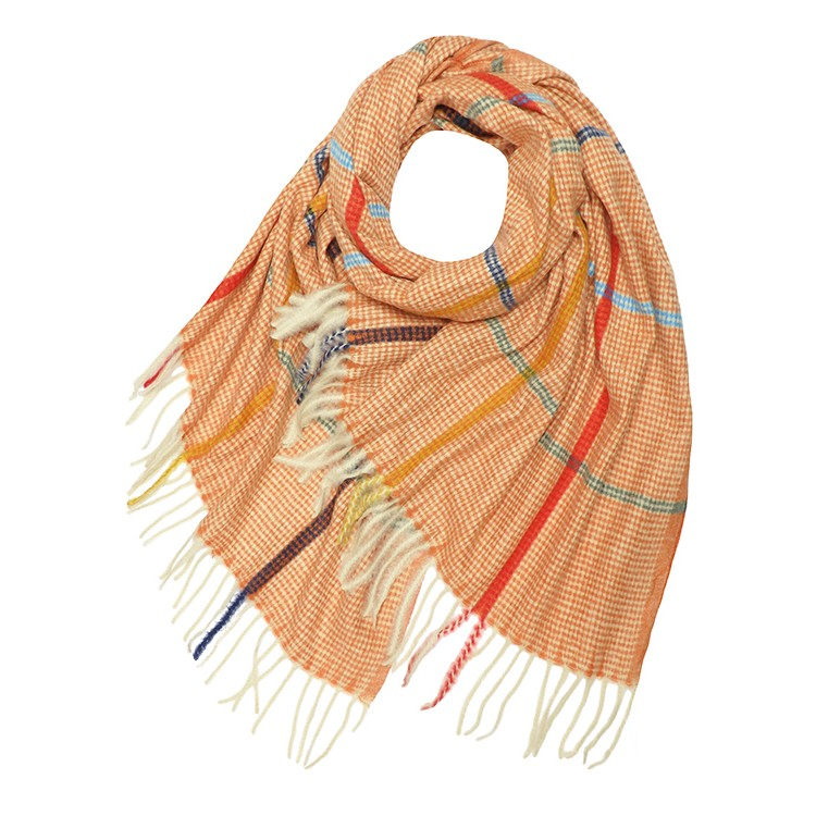 Colour Line Check Wool Mix Winter Scarf (MORE COLOURS AVAILABLE)