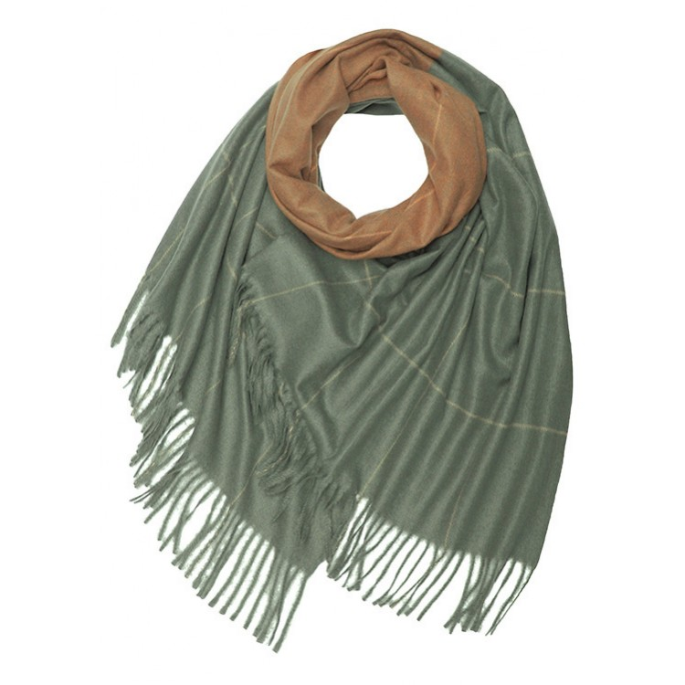 Two Tone Check Wool Mix Winter Scarf (MORE COLOURS AVAILABLE)