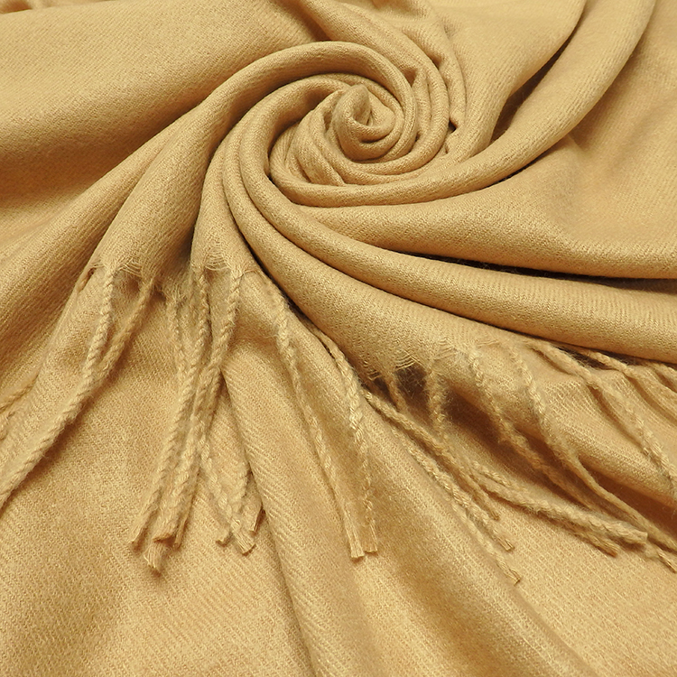 Plain Wool Mix Winter Scarf With Tassels GOLDEN