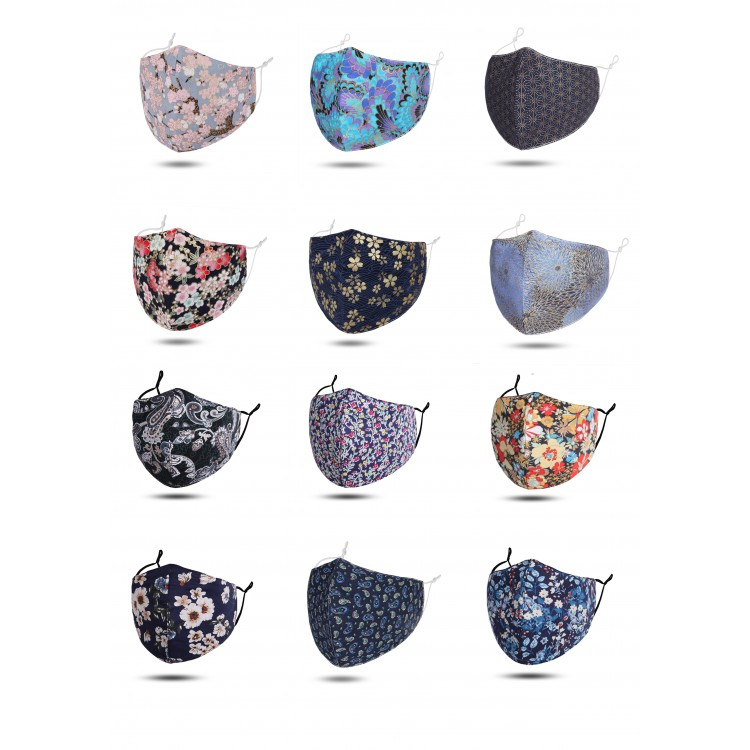 Reusable Face Mask With Filter Pocket ( mix pack of 12 pieces)