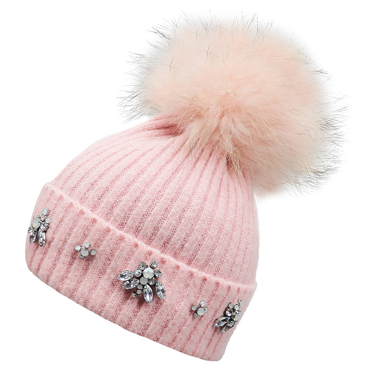 Real Fur Pompom Bling Hat (MORE COLOURS AVAILABLE)