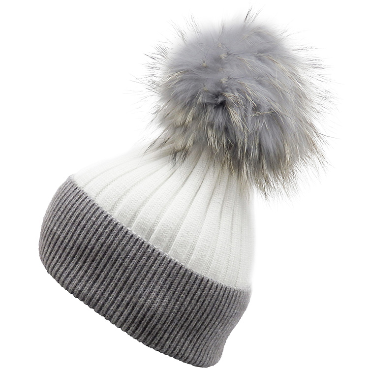 Real Fur Pompom Two Tone Hat (MORE COLOURS AVAILABLE)